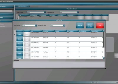 Shop Floor control software dashboard showing Job Set Up