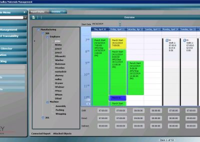 Radley Corporation labor tracking software screen shot