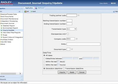 iREDI b2b edi software Document Journal inquiry and update
