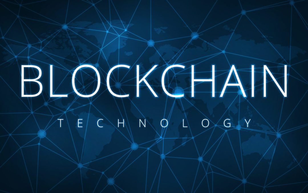 Blockchain technology illustration text with blue background
